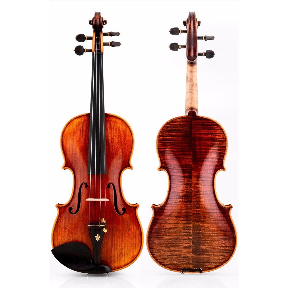 Christina V05-C violín 4/4 italiano hecho a mano antiguo clasificación violino instrumento de música libre con estuche acolchado arco
