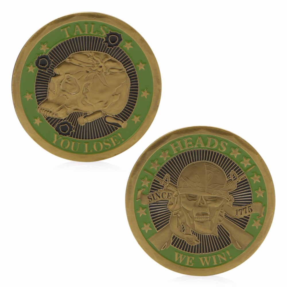 Heads We Win Tails You Lose Skull Gold Plated Commemorative Challenge Coins Art