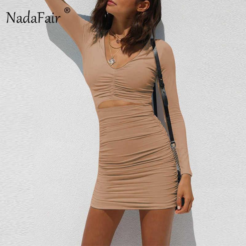 Nadafair с длинным рукавом ДРАПИРОВАННОЕ мини платье Осень Белый Черный выдалбливают V шеи сексуальное облегающее Клубное платье Вечерние