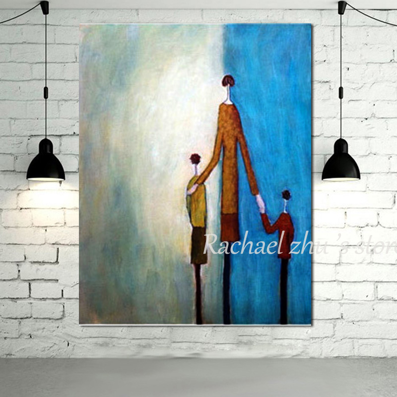 New Arrival 100% Hand Painted Modern Abstract Figure Oil Pinaintg Father Hold Two Children Wall Pictures Bedroom Decor No Framed