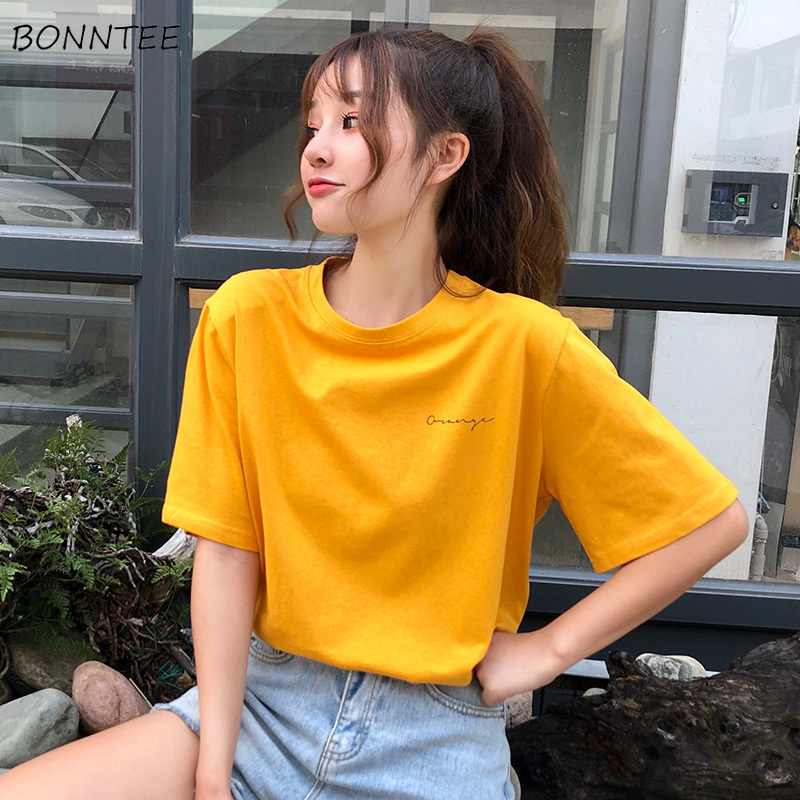 T-shirts Women Solid Letter Print Short-sleeved O-neck Womens T-shirt All-match Leisure Simple Trendy Chic Harajuku Korean Style