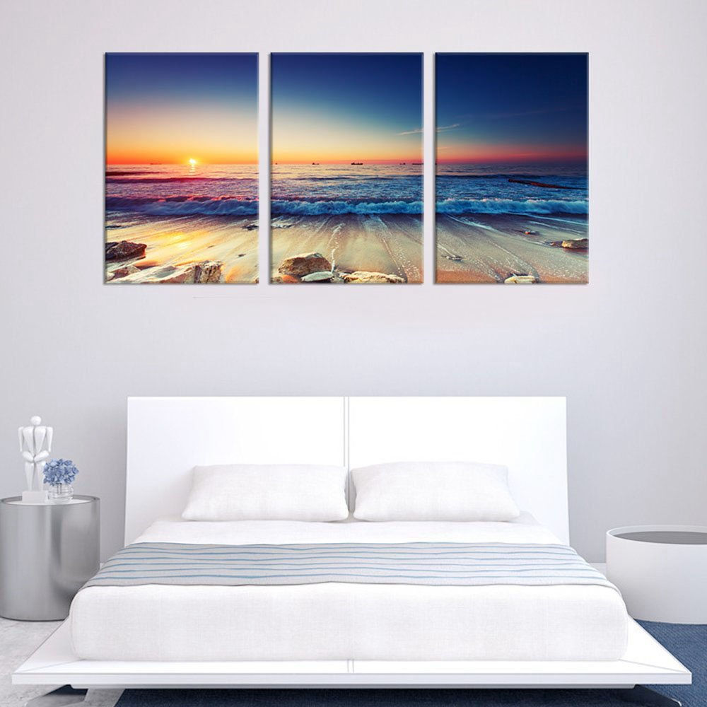 Canvas Art Prints Sunset Sea Beach Poster Canvas Wall Art Nature Picture for Room Wall Decor Large Blue Ocean Home Decoration in Painting Calligraphy from Home Garden