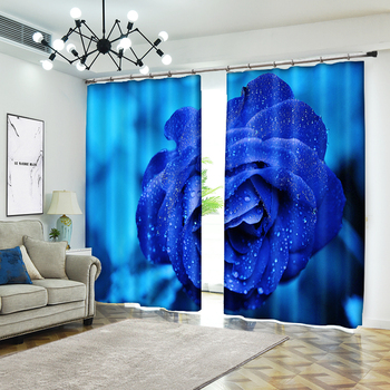 Blue Rose Decorative 3D Curtain for Home Textile Luxury Living Room 3D Sunshade Curtain Customize Size