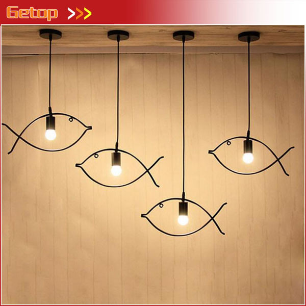 LOFT Nordic Simple Fishlike Iron Pendant Lights Clothing Store Bar Balcony Lights Creative Iron Geometric Lighting Decoration
