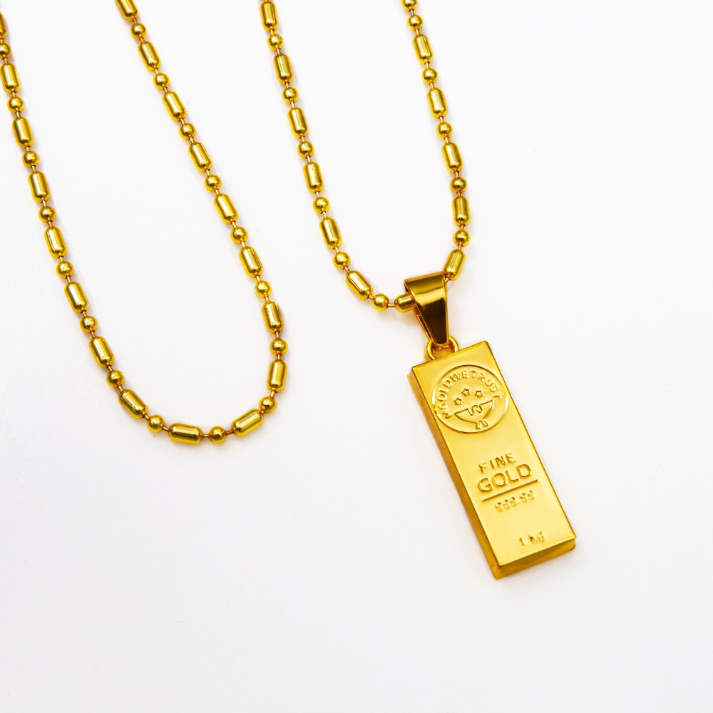 Golden iced out bar shape pendant hip hop beads link chain necklaces golden iced out bar shape pendant hip hop beads link chain necklaces mens jewelry in pendant necklaces from jewelry accessories on aliexpress aloadofball Image collections
