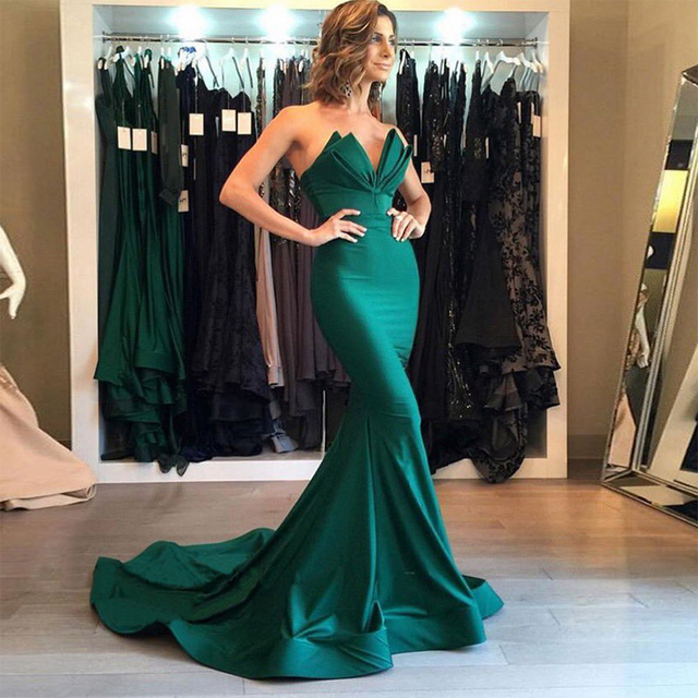 a086cec763a Vestidos De Formatura 2017 New Green Graduation Party Gowns Formal Mermaid  Long Prom Dresses Cheap Women