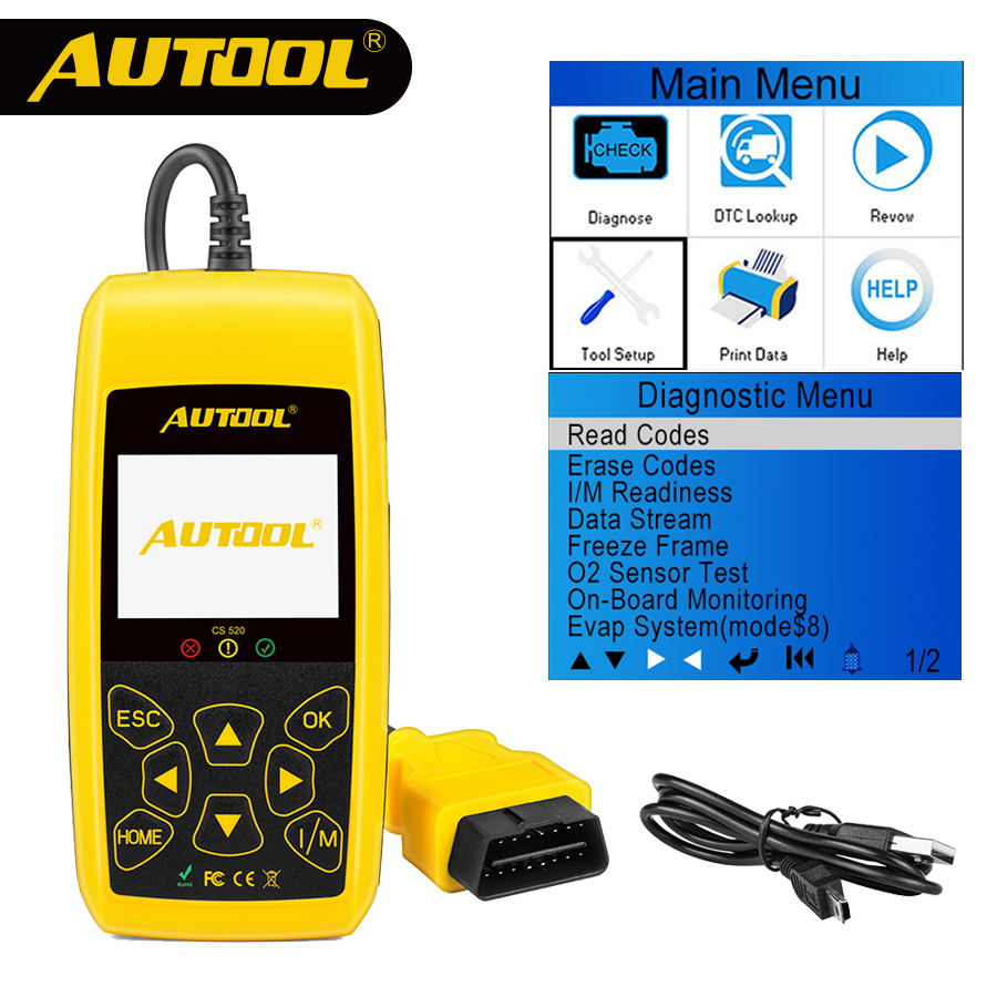 AUTOOL CS520 OBD2 Scanner Automotive Auto OBDII Code Reader CANBUS Auto Scan Digitale Diagnose Werkzeug LED Dispaly Schlüssel DIY PK AD410