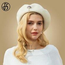 be7cc755ea478 FS damas caliente blanco y negro de lana de invierno sombrero boina mujer  boinas mujer artista
