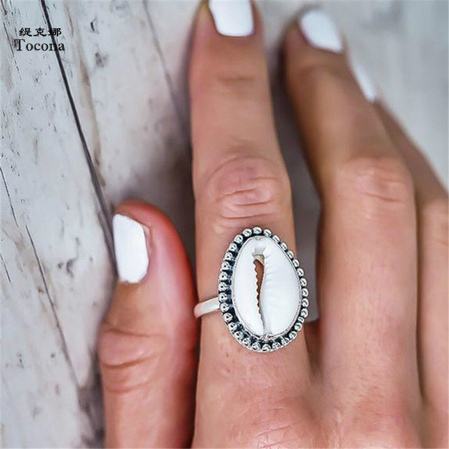 Tocona Bohemian Antique Silver Shell Ring Midi Finger Knuckle Rings for Women Su