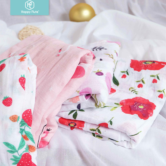 Happy Flute  1Pc Muslin 100% Cotton Baby Swaddles Soft Newborn Blankets Black White Gauze infant wrap