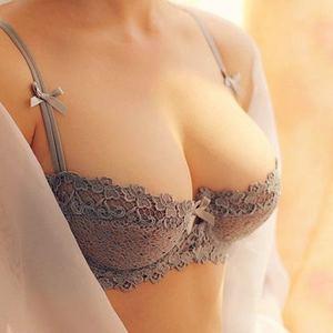 Image 3 - 2015 Sexy Underwear Flower Ultrathin Transparent Lace Bra Set White Fashion Push Up Plus Size 32 38 A D cup 3 colour