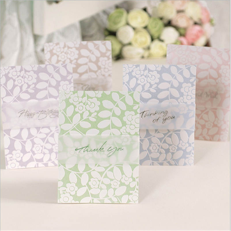 DoreenBeads Paper Cards Thank You Message Flower Leaves Birthday Wedding Party Universal Gift For Friends Lover Family 1PC