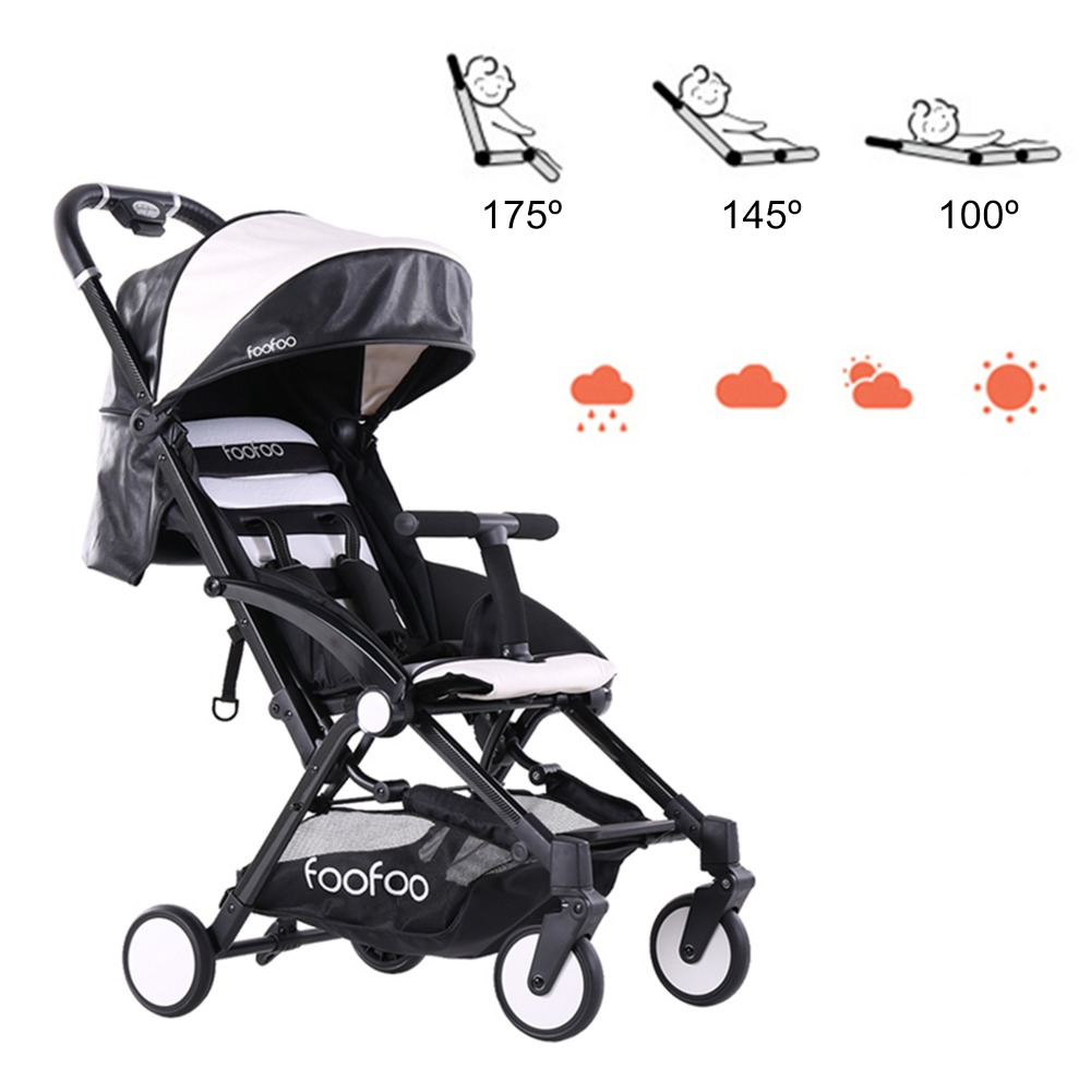 Lightweight Folding Pram Fashion Baby Stroller Four Wheels Folding Pu Leather