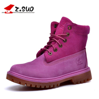 2017 Handmade Pink Lace Up Sexy Women Winter Boots Cow Leather Outdoor Casual Rubber Womens Boots