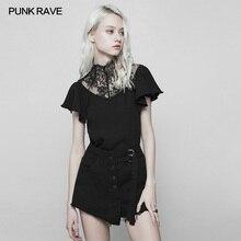 Панк рейв Готический Модный Черный Повседневный кружевной темперамент Тонкий облегающий короткий рукав женская футболка Топы