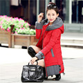 Cheap wholesale 2017 Hot selling fashion down cotton-padded patchwork long slim Coat Spring Autumn Winter Warm Lady work Coat