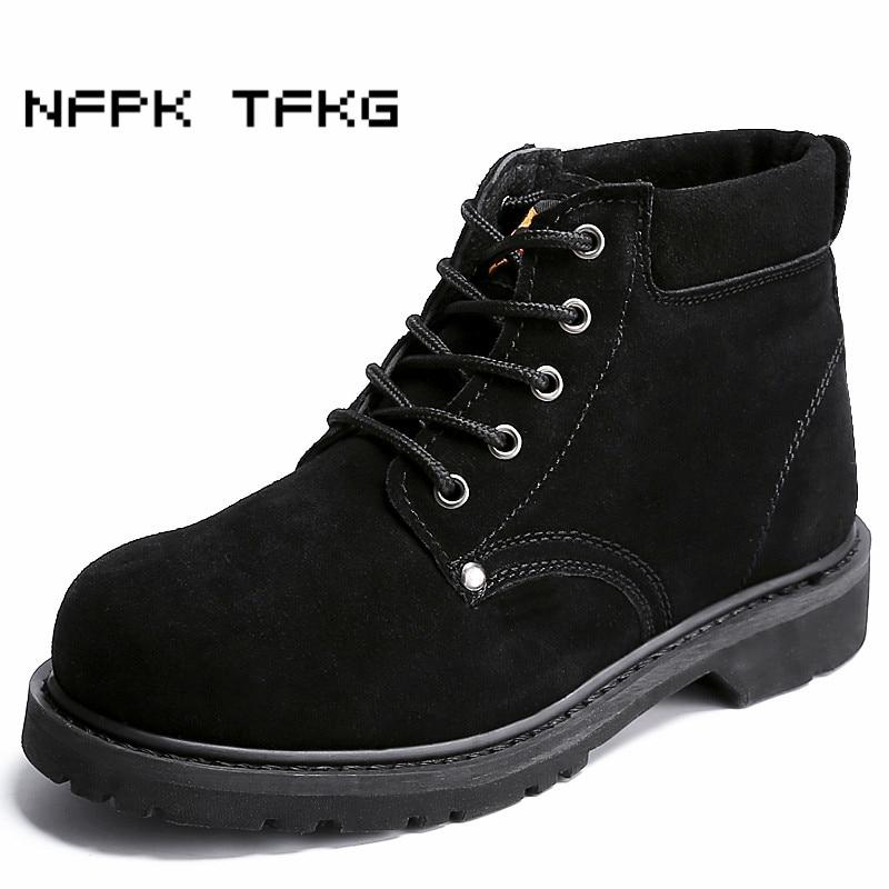 Grande taille 45 46 hommes de mode embout en acier de sécurité au travail chaussures printemps automne vache en daim en cuir de sécurité cheville bottes zapatos mâle