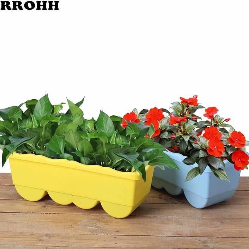 Garden Flower Pot Decorative Plastic Succulent Vegetable Melon Fruit Planting Pot Crates Rectangle Table Flower Pot Gardening-in Flower Pots & Planters from Home & Garden