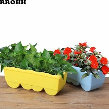 Garden Flower Pot Decorative Plastic Succulent Vegetable Melon Fruit Planting Pot Crates Rectangle Table Flower Pot Gardening