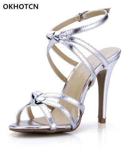 Zapatos Rome Bande Été Talons Supérieure Haute Plus La Femme Taille 35 As Dame Stilettos Chaussures Étroite Gladiateurs Femmes Argent Show 43 Noeud oexrdCQEBW