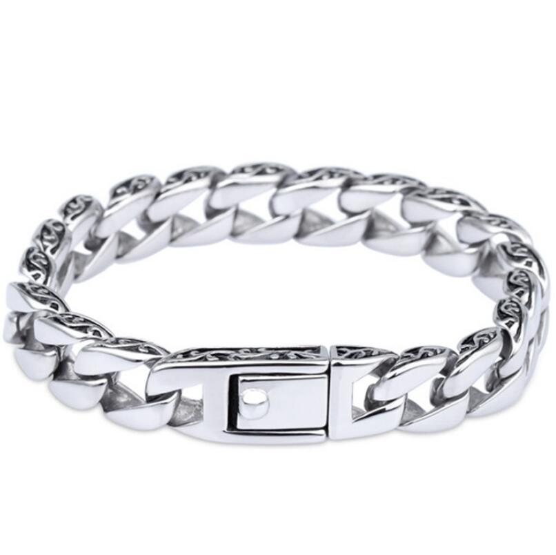 925 Thai silver mens tank heavy thick mens link chain carved bracelet925 Thai silver mens tank heavy thick mens link chain carved bracelet