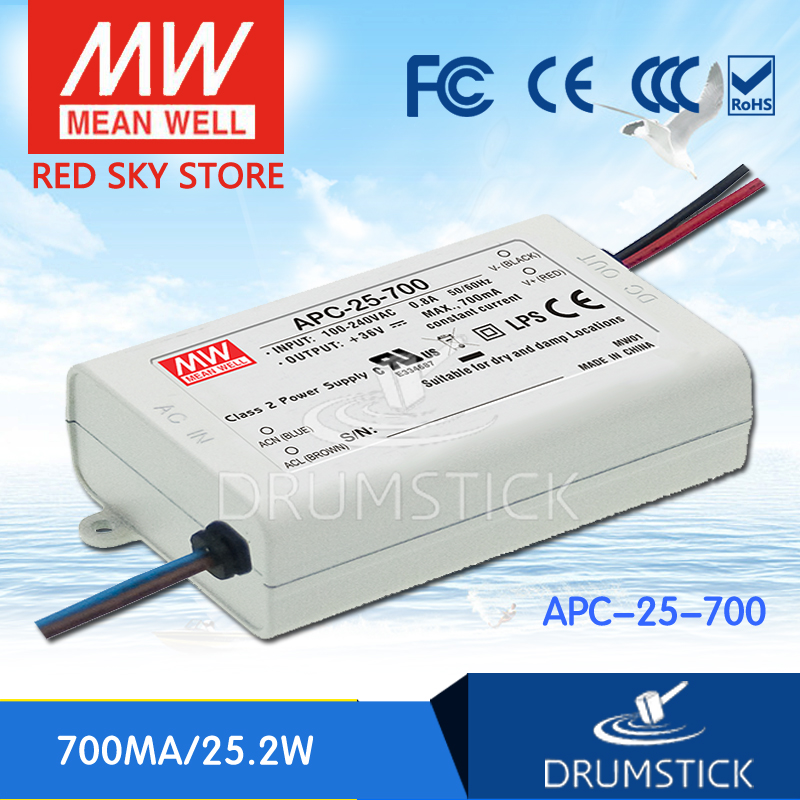hot-selling MEAN WELL APC-25-700 36V 700mA meanwell APC-25 36V 25.2W Single Output LED Switching Power Supply [Real1] mean well apc 25 600 waterproof ip67 25w power supply grayish white 100 240v