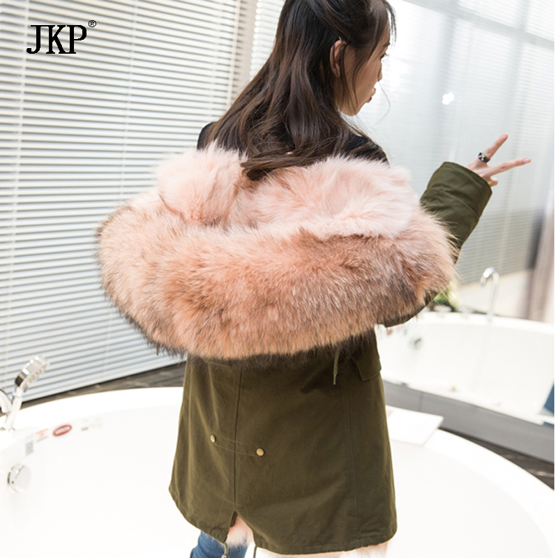 2017 New Women Winter Army Green&Black Jacket Fox fur Coats Thick Parkas Real Raccoon Collar Hooded Outwear&Fur coat indjxnd winter woman jacket women parkas casual clothing thick outwear hooded coat imitation femme fox fur coats manteau loose