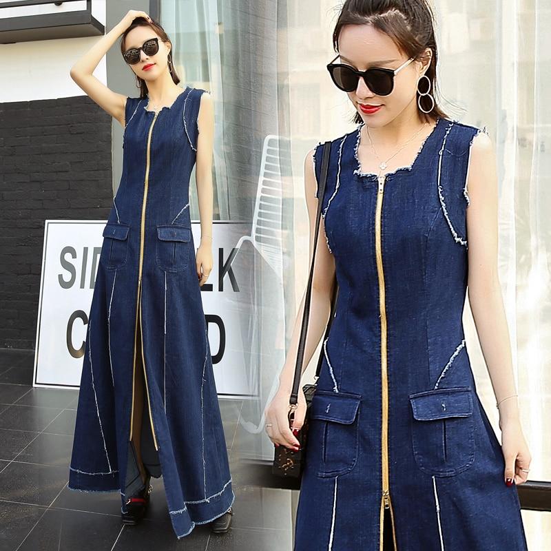 무료 배송 2019 패션 xs s 드레스 여성용 긴 맥시 민소매 드레스 지퍼 포켓 스트레치 드레스-에서드레스부터 여성 의류 의  그룹 1