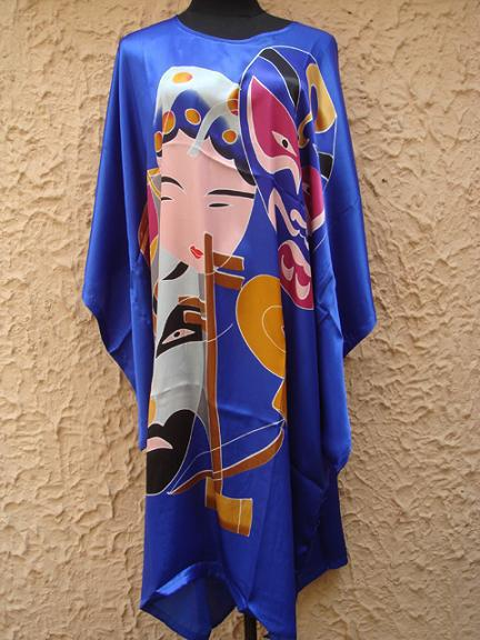 Free Shipping Blue Painting Ladies Silk Robe Bath Gown Nightgown Yukata Flower One Size S4029