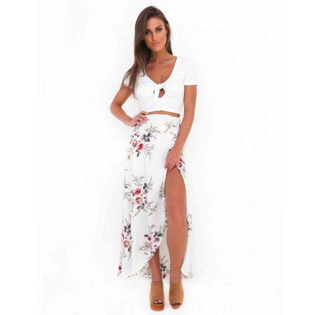 VITIANA Brand Women Vintage long Skirts Summer White Floral Print Elegant Beach Maxi Skirt Boho high waist asymmetrical skirt