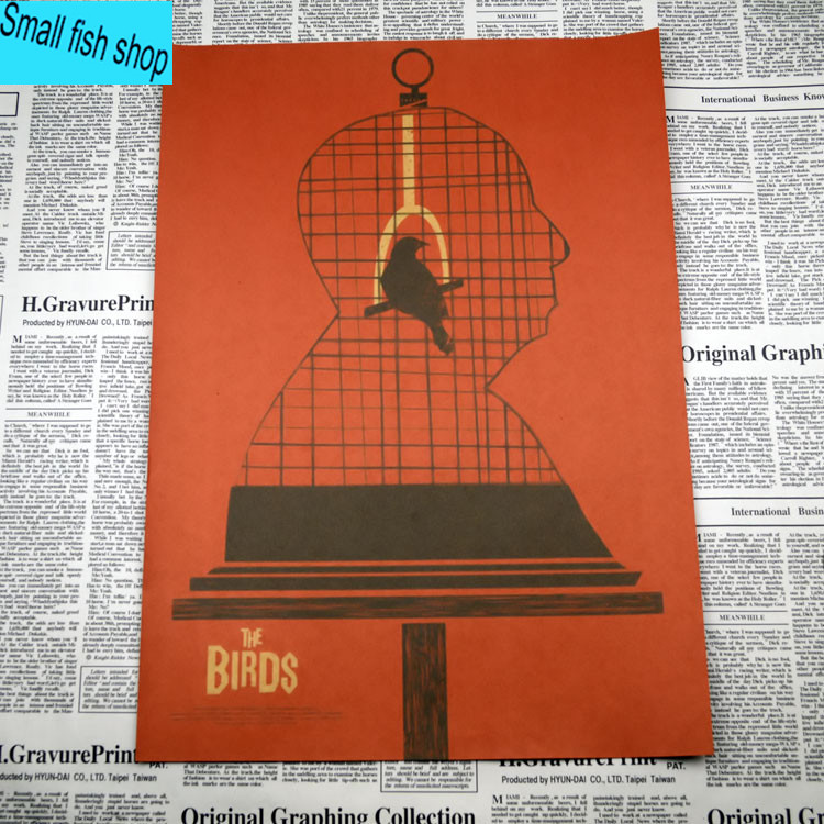 The Birds Alfred Hitchcock Movie Poster Home Furnishing decoration Kraft Movie Poster Drawing core Wall stickers