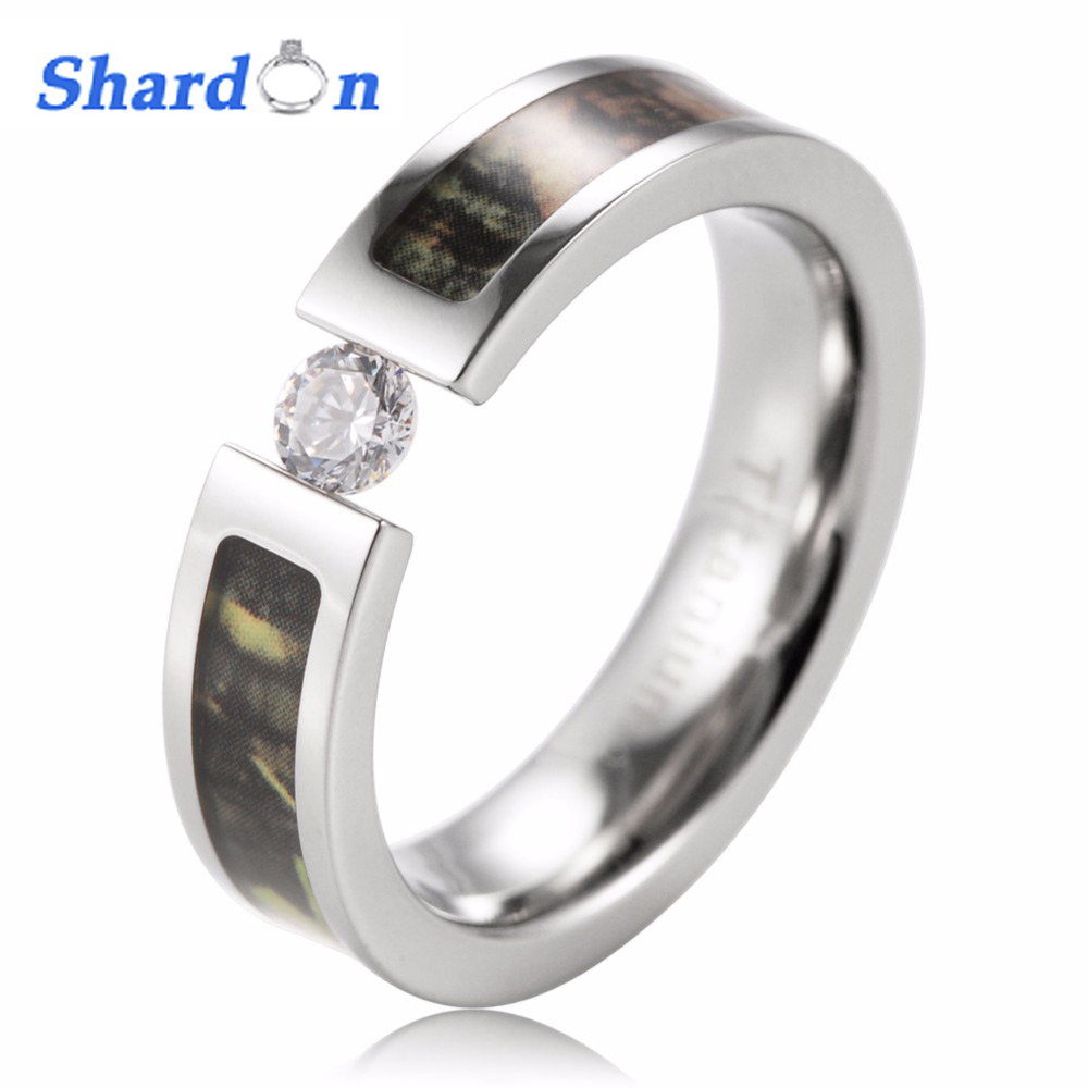 070293177 SHARDON Ladies Camo ring Titanium Tension Set CZ Crystal Green Mossy Tree  Camouflage Women Engagement Ring