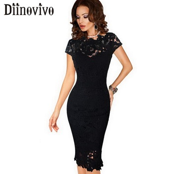 Womens Elegant Lace Dress Sexy Crochet Hollow Out Pinup Party Dresses Evening Sheath Fitted Bodycon Vestidos Dress Female D206 holographic belt purse