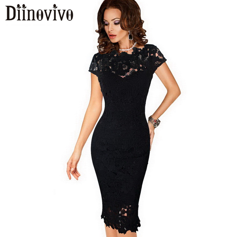 Womens Elegant Lace Dress Summer Sexy Crochet Hollow Out Pinup Party Dresses Evening Sheath Bodycon Vestidos Dress Female D206