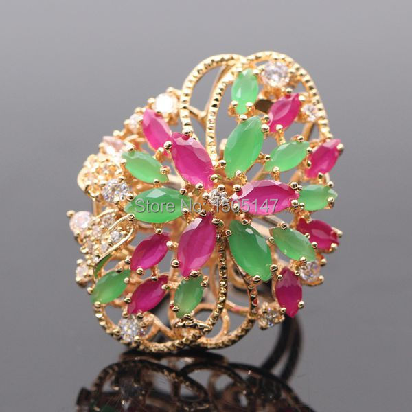 GZJY New Fashion Noble Gold Color Natural Red&Green Zircon Rings/pendant For Women Party Multipurpose Jewelry