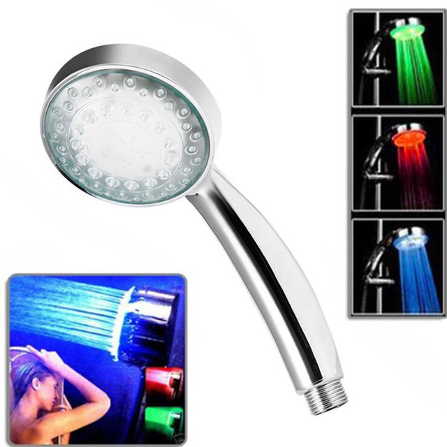 Automatic color changing lighted 3 Colors LED Shower Head ...
