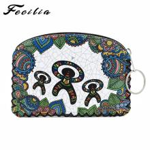 Fecilia Women Coin Purse Cute Printing Retro Ladies Small Wallet Pocket Headset Line Pouch Credit Card Holder Lipstick Bag Gift цены