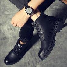 Brand 2019 Men Fashion Boots Autumn Men Military short Boots Winter warm fur Ankle Boots Footwear Lace Up Shoes LH-50