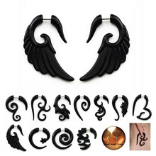2Pcs Acrylic Black Fake Spiral Ear Taper Plug Gauges Twist Expanders Earring Cheater Stretchers Piercing Body Jewelry(China)