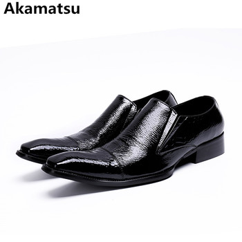 Men formal shoes leather business office oxford shoes for men black square toe slip on mocassim masculino crocodile skin
