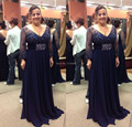 Plus Size Beaded Long Sleeves Empire Navy Blue Floor Length Bridal Mother Wedding Dresses Plus size Wedding Mother Formal Gown