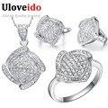 45% de descuento uloveido cubic zirconia jewelry bridal wedding sets plateado collares y colgantes pendientes anillo de regalo para las mujeres t051