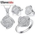 45% off uloveido casamento cúbicos de zircônia conjuntos de jóias de noiva prata banhado colares & pingentes brincos presente anel para mulheres t051
