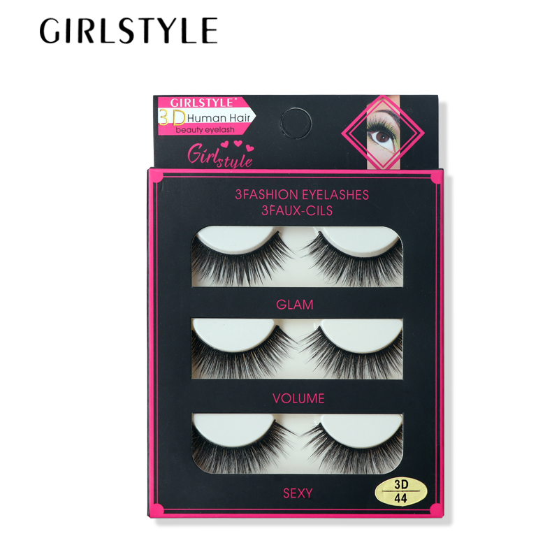 GIRLSTYLE Flash Eyelashes 3pairs/sets Extention Eyelashes Makeup Slim Thick Curl