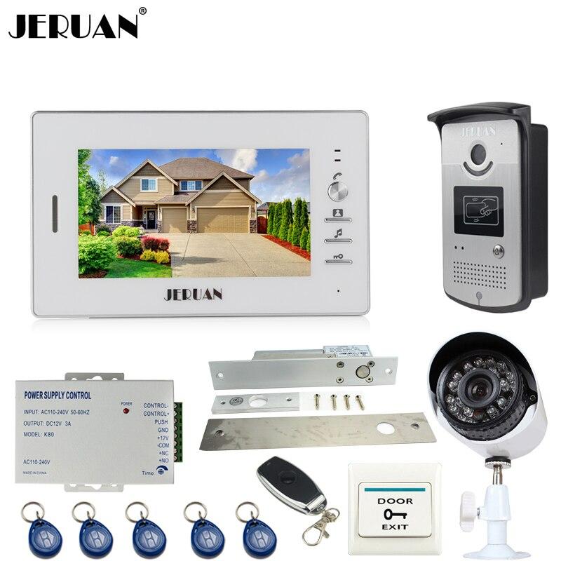 JERUAN Home 7`` color screen Video Door Phone Intercom System kit +RFID Access Camera + 700TVL Analog Camera +remote control