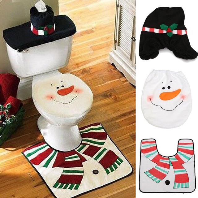 New XMAS Snowman Toilet Seat Cover Rug Bathroom Mat Set Padded Christmas Covers