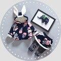 Девочка одежда наборы Зима Молния цветы теплая куртка + леггинсы из двух частей набор костюм спортивный костюм Рождественские костюмы для девушка