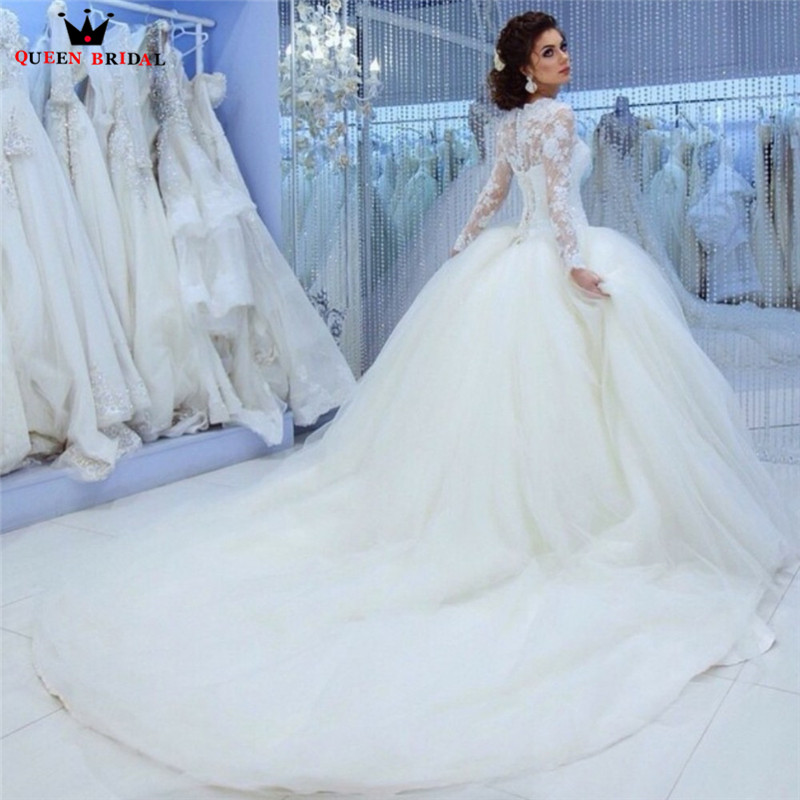 Ball Gown Fluffy Long Sleeve Lace Beading Romantic Formal Wedding Dresses 2018 New Fashion Wedding Gown