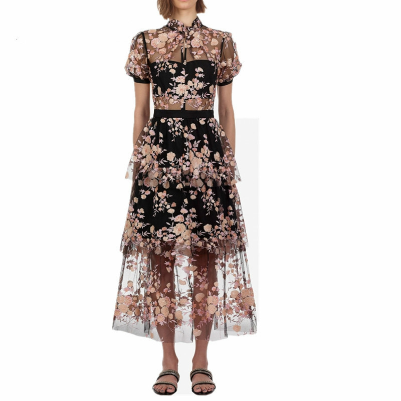 Comelsexy New Arrive Mesh Embroidery Sequins Flower Chic Dress 2019 Summer Maxi Long Dress High Quality