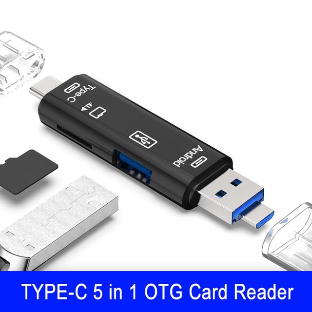 5 في 1 TF بطاقة الذاكرة محول 3.0 ل SD قارئ بطاقة محول ل فلاش محرك متعدد OTG قارئ ل أندرويد نوع c منفذ USB